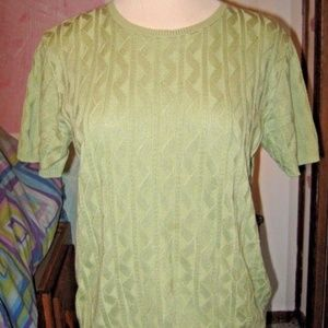 Sage Green Crew Neck Short Sleeve Knit Sweater L